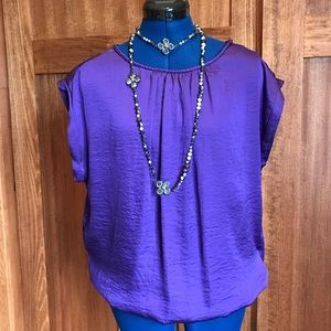 Outback Red Purple Blouse with Keyhole Cutout Back